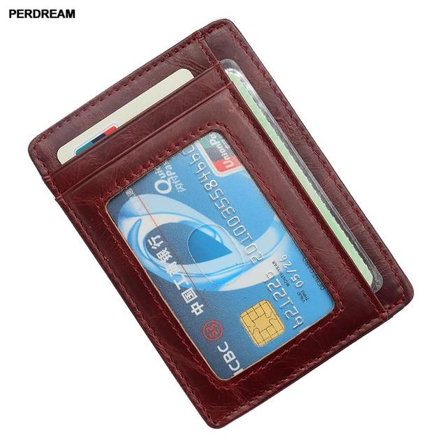 Mini carte de vachette sac Anti-magnétique RFID porte-cartes en cuir mince portefeuille hommes porte-monnaie femmes document