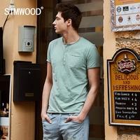 SIMWOOD 2017 Summer New Casual T Shirts Men Henry Collar Curl Hem Solid Color Slim Fit
