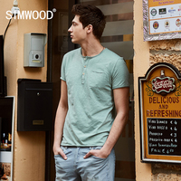 SIMWOOD 2017 Summer New Casual T Shirts Men Henry Collar Curl Hem Solid Color Slim Fit