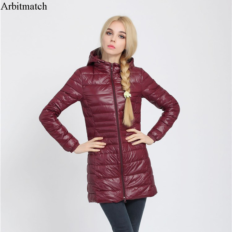 Arbitmatch Fashion Winter Ultra Light Down Jacket 90% Duck Down Hooded Jackets Long Warm Slim Coat Winter Jacket Women Parka