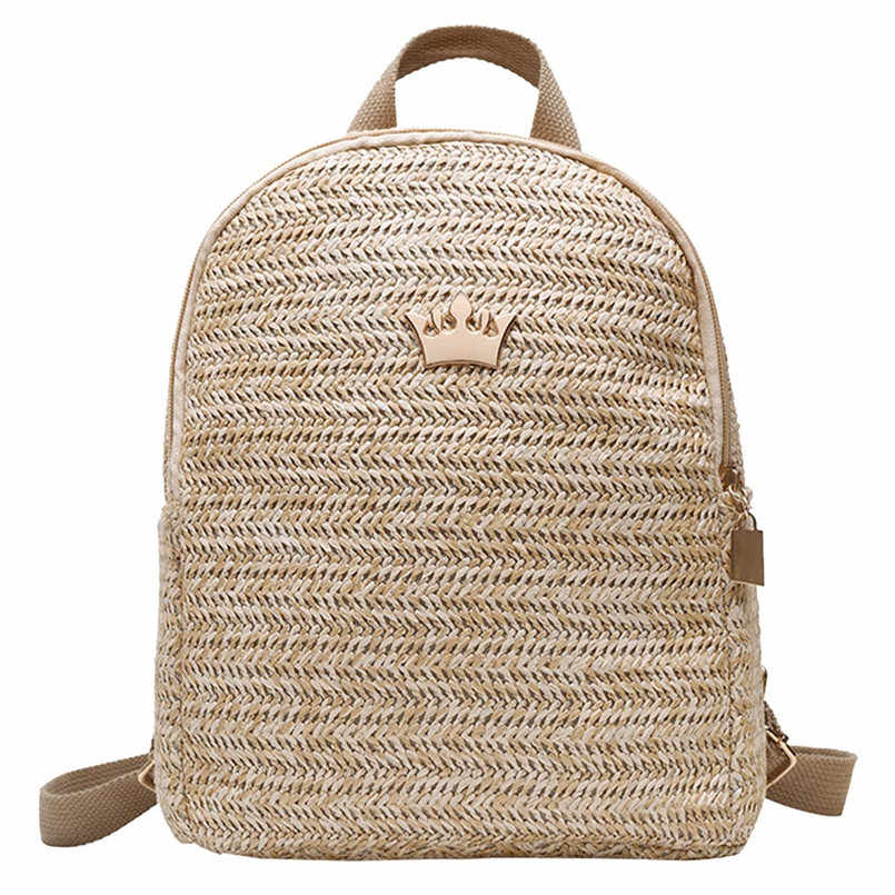 Mulheres tecido Rattan saco de Escola Mochila Estudante Sacos De Escola Para Adolescentes Meninas da praia do verão saco de viagem mini mochila saco um dos dos