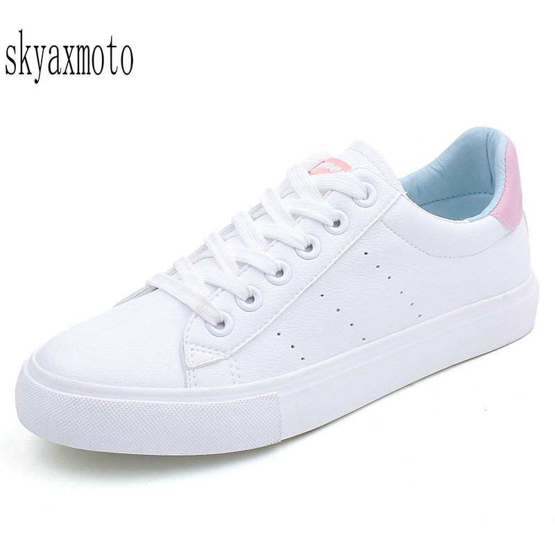 Skyaxmoto Women White Shoes 2018 Spring New Female Casual Shoes Fashion Sneakers Zapatillas Deportivas Mujer Blue Pink Red 35 40