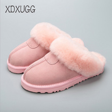 High quality, 100% sheep wool skin slippers / men and women home Baotou slippers / flat with indoor slippers / free shipping