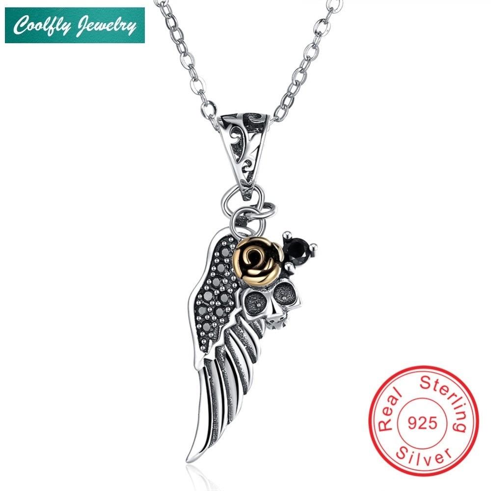 COOLFLY Vintage 925 en argent Sterling tendance ailes pendentif colliers pour les femmes, européenne femme mode bijoux lien chaîne cadeau