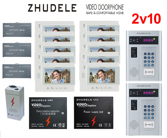 ZHUDELE Building Home security intercom system 10 Units Apartment Video Door Phone for 2 Doors Doorbell intercom 7 TFT monitor