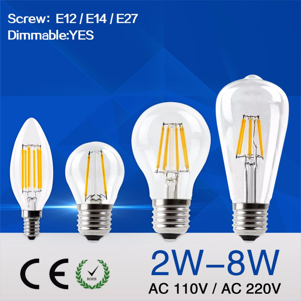 Led bulb E27 E14 E12 2W 4W 6W 8W Vintage Edison lamp A60 ST64 C35 G45 AC110V AC220V transparent Glass Filament light Retro lamps 50pcs e27 b22 led bulb retro vintage edison st64 4w led filament glass light lamp warm white energy saving lamps light ac220v