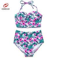 Women Lace Neoprene Bikini Push Up Swimwear Bandeau Biquini Vintage Triangle Brand Name Women Bikini Set