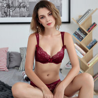 Sexy Lace Plunge Bra Set Ultra Thin Breathable Mesh Lingerie Set Woman Deep V Seamless Transparent