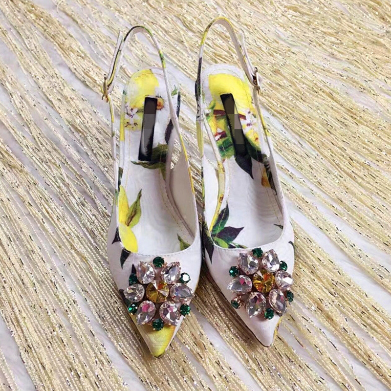 2018 Woman Sandals Pointed Toe Sexy High Thin Heels Wedding Party Stiletto Flower Print Hot Shoes Crystal Woman Zapatos Mujer zapatos mujer pointed toe thin high heels sandals mixed color single shoes woman stiletto dress women pumps 2018