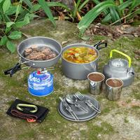 여행 피크닉 세트 캠핑 식기 야외 하이킹 요리 숟가락 포크 컵 머그잔 프라이팬 냄비 주전자 조리기구