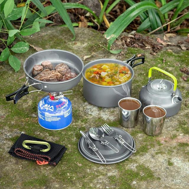 Reise Picknick Set Camping Geschirr Outdoor Wandern Kochen Löffel Gabel Tasse Becher Braten Pan Topf Wasserkocher Kochgeschirr-in Outdoor-Geschirr aus Sport und Unterhaltung bei