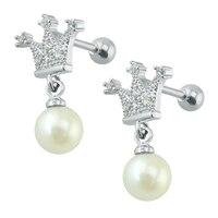 Princess imperial crown earrings stainless steel dangle long pearl earrings crystal earrings silver color small stud bijuterias