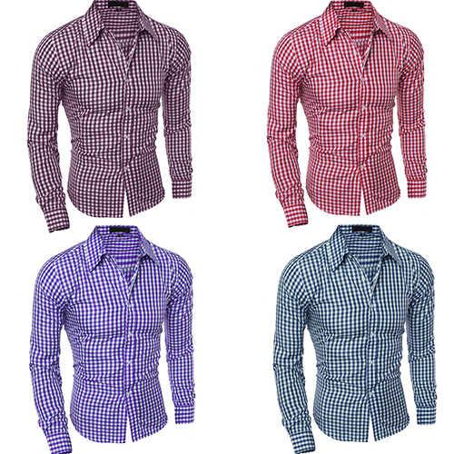 2017 новая мужская модная Повседневная рубашка с отворотом на пуговицах, клетчатая рубашка с длинными рукавами