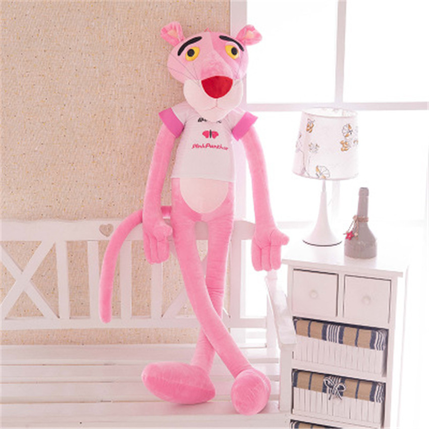 55cm New Pink Panther Plush Toys Stuffed Doll Soft Toy Pink Leopard Kawaii Gift for Kids with Clothes