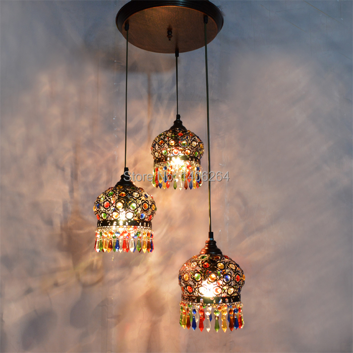 Bohemian Chandelier Ccolorful Crystal Droplight 3 Ligfts