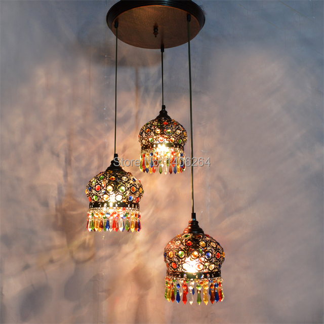 Bohemian Chandelier Ccolorful Crystal Droplight 3 Ligfts Red Bronze K9 Ceiling Lamp For Bar Hall