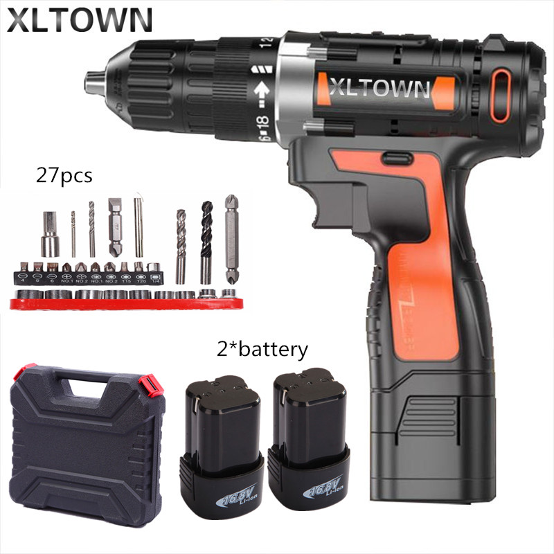 Xltown 16.8v Cordless Mini Electric Drill with 2 battery Multi-energy lithium battery  electric screwdriver power too Gift drill footprint reading library 3000 alternative energy [book with multi rom x1 ]