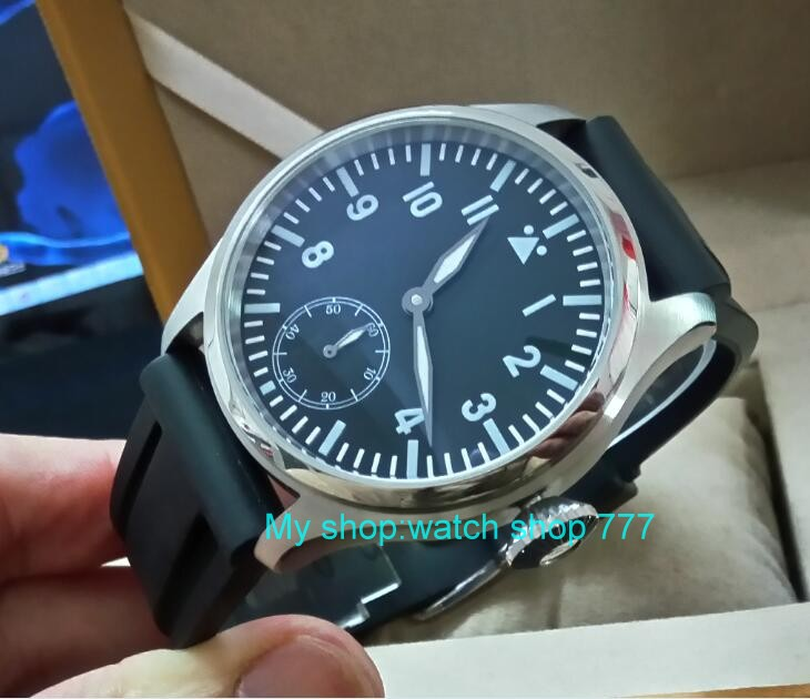 47mm parnis big black dial Asian 6498 17 jewels Mechanical Hand Wind movement men watches blue Luminous Mechanical watches s310 limited edition watch 50mm big dial parnis men s watch asian 6498 mechanical hand wind pvd black watchcase 84aa