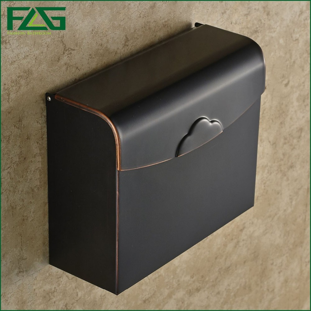 FLG Modern Bathroom Accessories Oil Rubbed Bronze Surface Brass Toilet Paper Holder Paper Box Wall Mounted G507