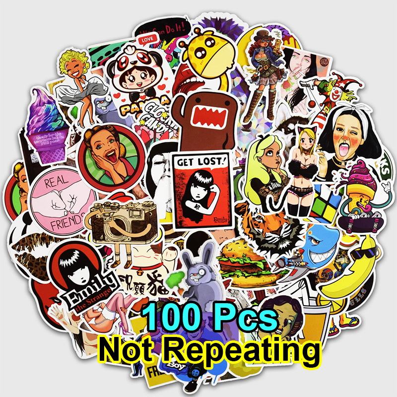100Pcs Cool Fashion Stickers for Laptop Car phone Luggage Bike Motorcycle Mixed Cartoon Vinyl Decals Pvc Waterproof Sticker