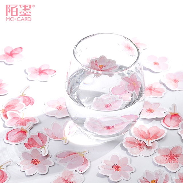 Autocollant en fleurs de cerisier 45 pièce/boîte, autocollant adhésif en papier, pour carte cadeau, Scrapbook, pour album photo, décor, DIY bricolage