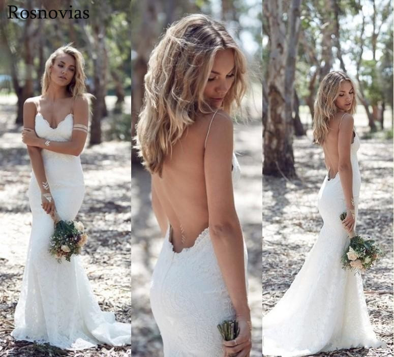Summer Bohemian Mermaid Wedding Dresses 2019 V Neck Open Back Sweep Train Lace Appliques Garden Beach Bridal Gowns Customized