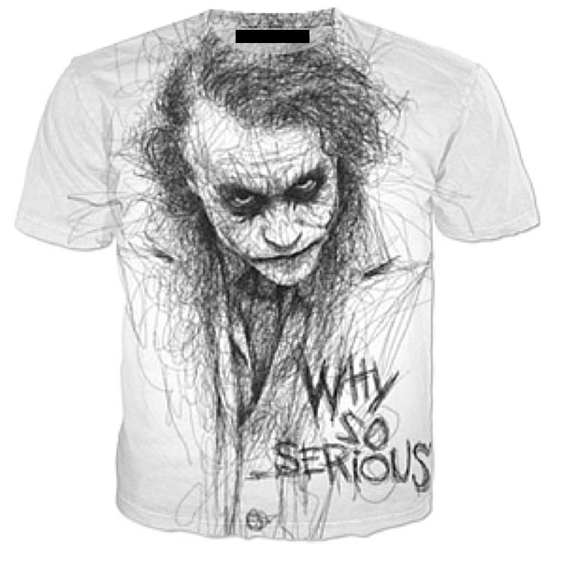 Cloudstyle 3D Tshirt Men Short Sleeve T Shirt Joker Why So Serious 3D Print Fashion Harajuku Summer Hot Tees Tops Plus Size 5XL