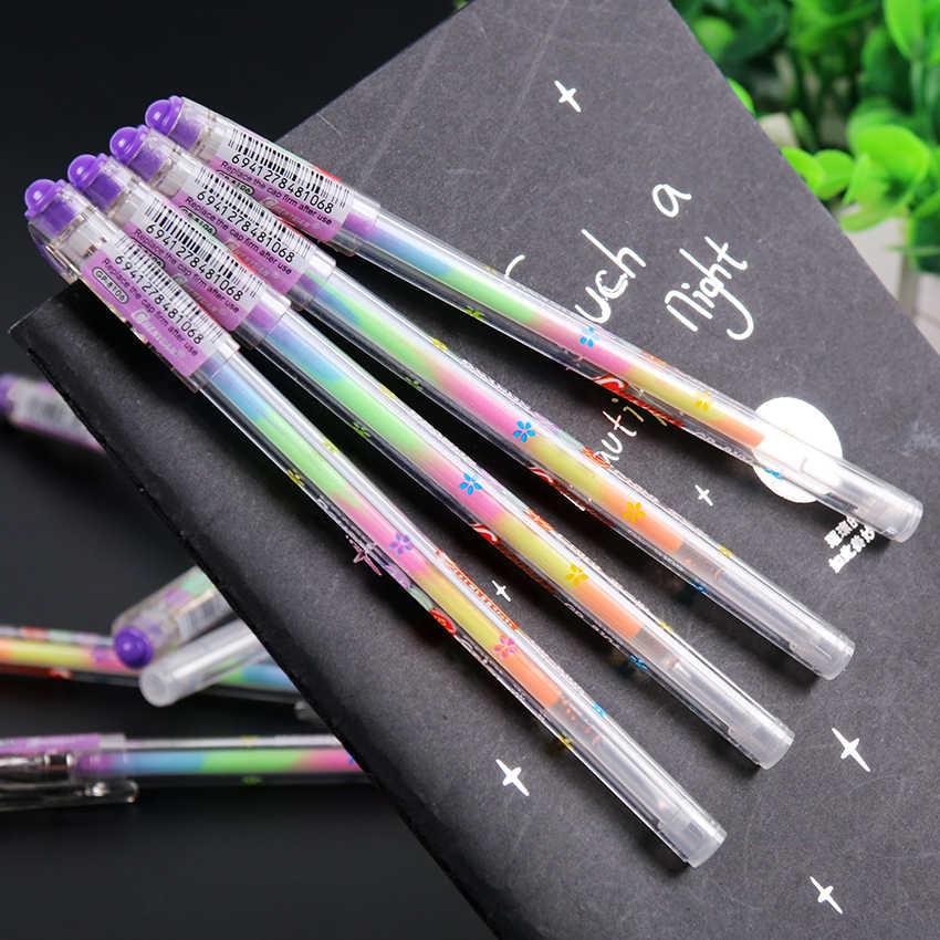 1PC חדש קוריאני מכתבים חמוד עיצוב דיו 6 צבעים סימון מכתבים נקודת עט צבעוני כתיבה ספקי