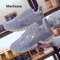 Marlisasa Women Fashion High Quality Silver Crystal Height Increased Shoes Lady Casual Golden Party Shoes Zapatos De Mujer F5006