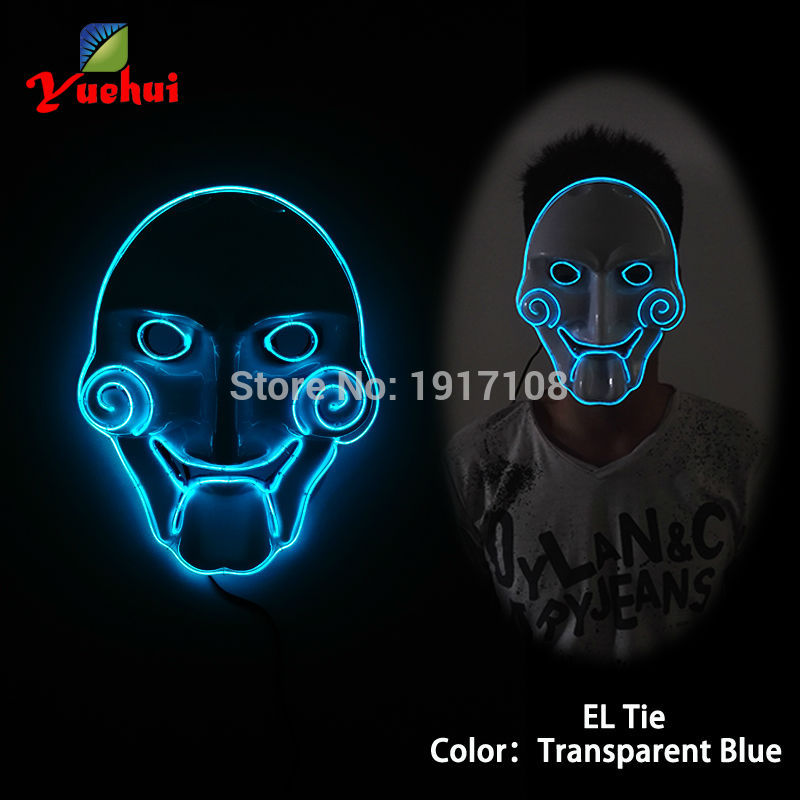 Hot DC 3V Flashing 10 Type Sound active mask supplies Halloween decor lighting Chainsaw mask good for Party,Club,Show accessory