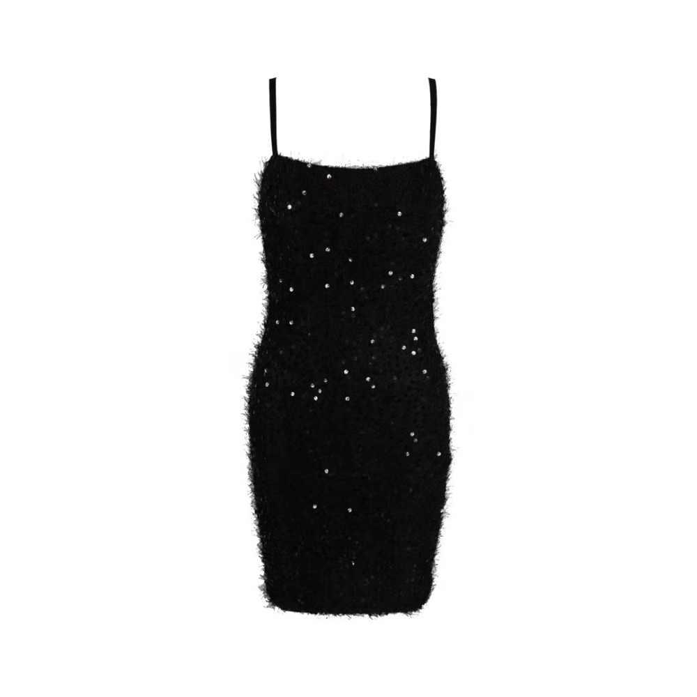 スリング毛深いスパンコール夏のファッションセクシーなノースリーブ黒光沢のある女性の 2019 ボディコンパーティードレス