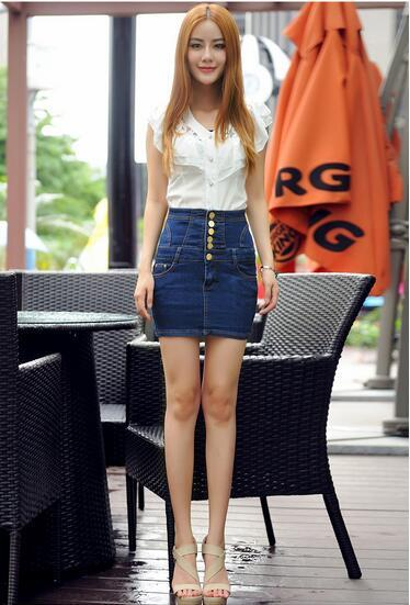 High quality occident vintage style fashion plus size S-5XL zippers impire cowboy denim skirts bodycon slim Women's jeans G9
