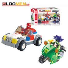 2016 New 80pcs/set DIY Building Blocks Toy Superman Spider Action Figure Deformation Toys Children Educational Toy Kids Gifts