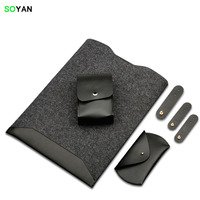 Laptop Bag Package Content Laptop Case Mouse Bag Charger Bag 3 Cable Ties Felt PU Leather