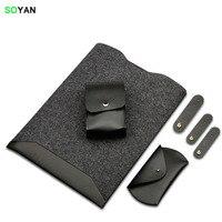 Laptop Bag Package Content Laptop Case Mouse Bag Charger Bag 3 Cable Ties Felt PU Leather