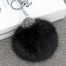 10cm 1PC Fluffy Real Rabbit Fur Pom Poms Ball Keychain Keyring Bag Charm Pendant