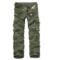 2019 Men Cargo Pants Army Green Multi Pockets Combat Casual Cotton Loose Straight Trousers Size 46 Male Easy Wash Pants no belts