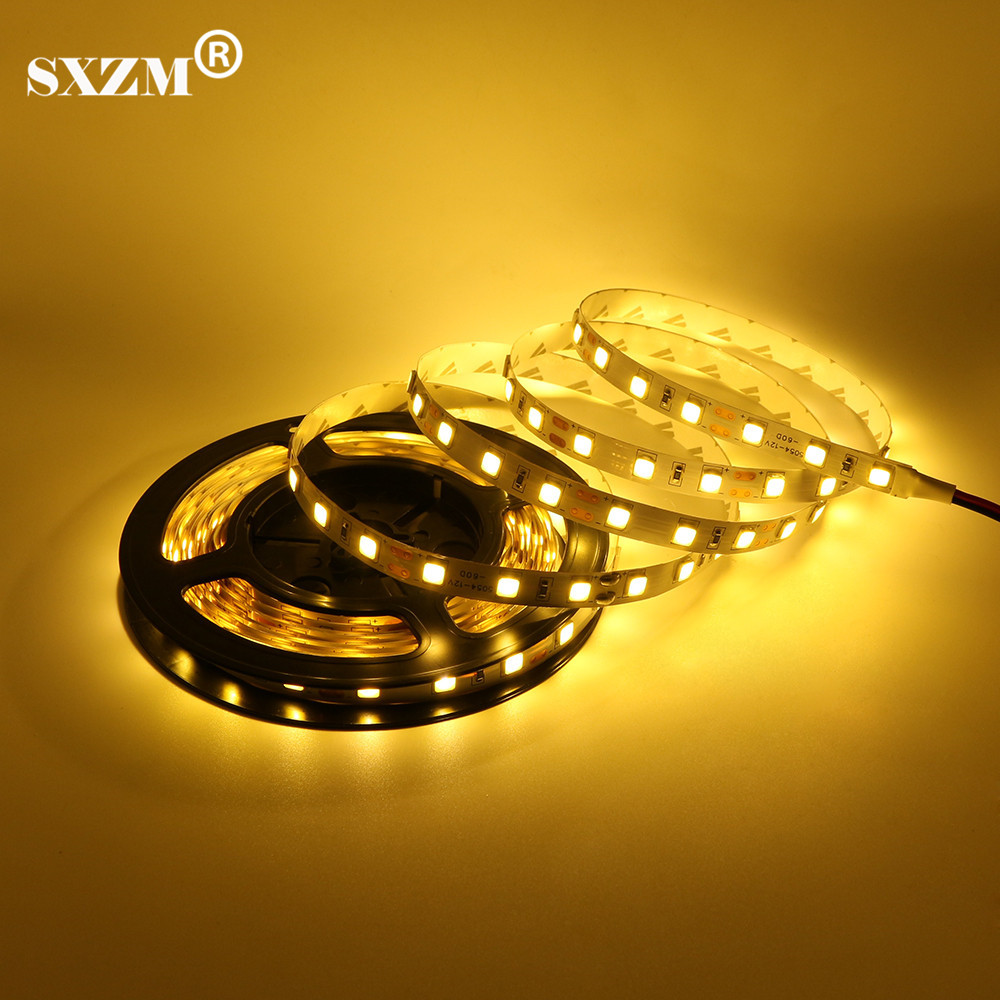 SXZM DC12V 5M 5054 led strip light Non-waterproof LED tape 60led/M,White,Warm white holiday Christmas decoration brighter