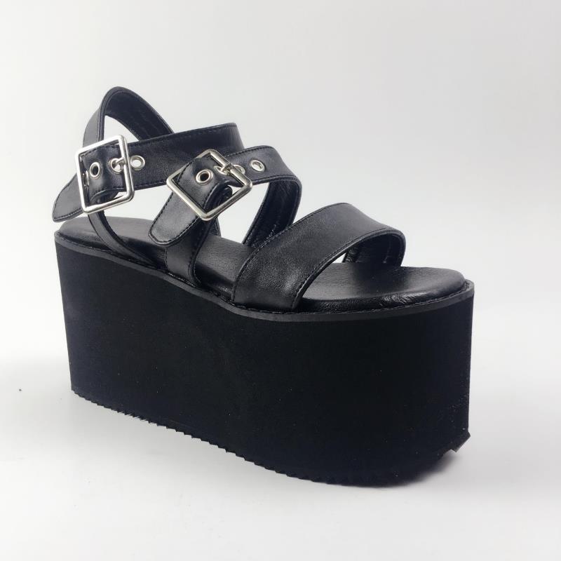 Princesse Douce Haute Jambe Femmes Harbin Muffin Parole Sandales Chaussures An7518 Noir Mode Printemps Mince D'été Et Lolita rr6xTWv7dS
