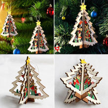 Hot 3D Wooden Christmas Decoration Xmas Tree Pendants Hanging Home Party Decoration