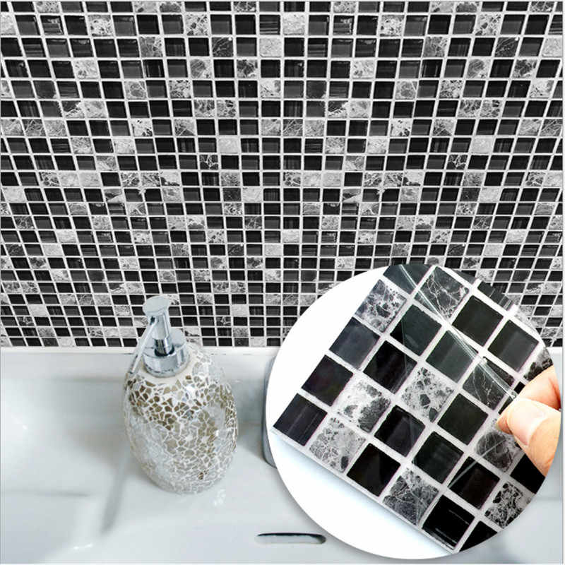 Funlife black mosaic creative tile paste kitchen bathroom floor art wall sticker TS039