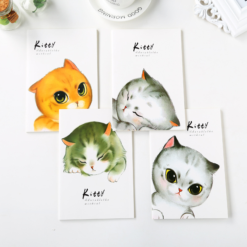 4 Color Cartoon Notebook Paper Cute Cat School Notebook Paper A5 Travelers Notebooks Planner Agenda Diary