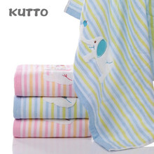 Kutto 70*140cm Lovely pure cotton gauze towel, cartoon like jacquard stripe big towel
