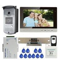 Free Shipping New 10 LCD Color Screen Video Door Phone Intercom System Outdoor RFID Reader Doorbell