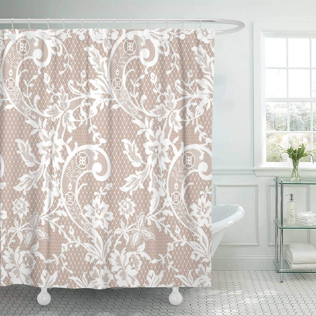 Fabric Shower Curtain With Hooks Dress Floral Lace Pattern