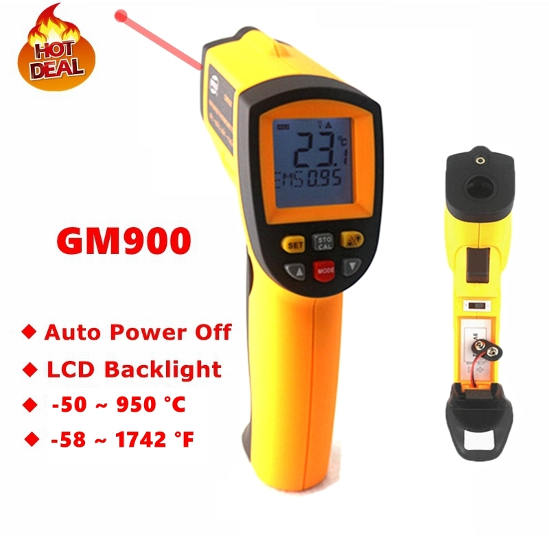 GM900 Digital Infrared Thermometer IR Laster Temperature Meter Non-contact LCD Gun Style Handheld -50-950C -58-1742F Pyrometer holdpeak hp 1320 digital laser infrared ir thermometer gun meter non contact 50 1500c temperature tester pyrometer