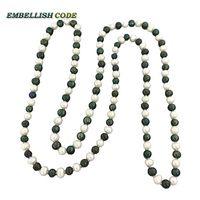 Рядом roung галстук длинное ожерелье белый и черный зеленый цвет плетьми для любой одежды 8 мм реальные пресноводного жемчуга витой