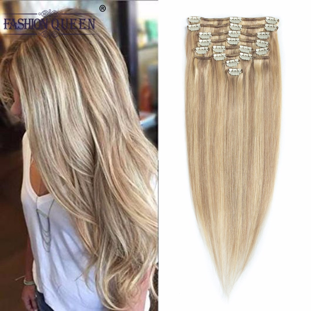 Ash Blonde/Bleach Blonde(#P18/613), Full Head Clip in Human Hair Extensions (12pcs/set, weighs 95g with 20 clips, 0.8g per clip)