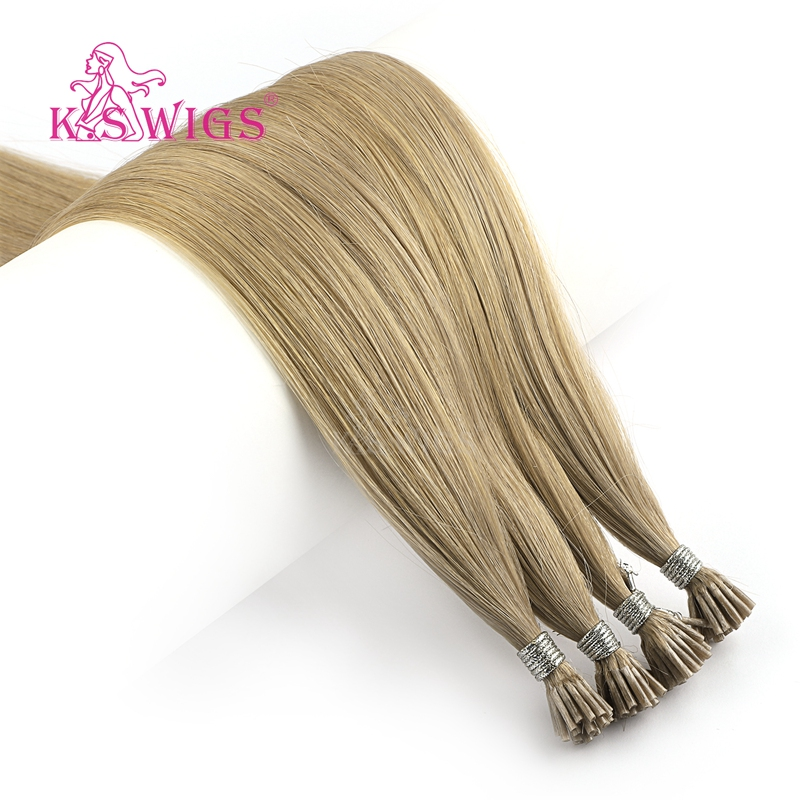 K.S WIGS Double Drawn I Tip Human Hair Extensions Straight Pre bonded Fusion Remy Hair 20'' 28'' 1g/s