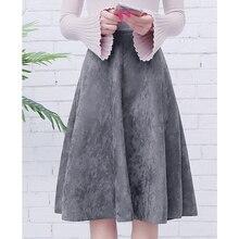 Neophil Женская замшевая юбка миди с высокой талией зимняя винтажная стильная эластичная Женская юбка трапециевидной формы Черный Зеленый расклешенная модная юбка S29A4